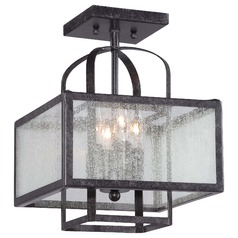 Minka Camden Square Aged Charcoal Semi-Flushmount Light