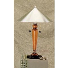 Lite Source Life-Style Teak Table Lamp with Coolie Shade