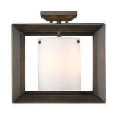 Smyth Semi-Flush (Low Profile) in Gunmetal Bronze with Opal Glass