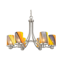 Modern Chandelier with Art Glass in Satin Nickel Finish