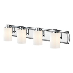 4-Light Bath Vanity Light in Chrome and Shiny Opal Glass