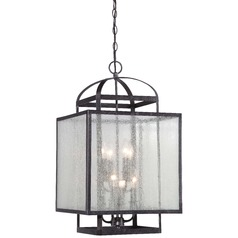 Minka Camden Square Aged Charcoal Pendant Light with Square Shade
