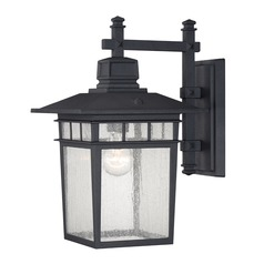 Seeded Glass Outdoor Wall Light Black Savoy House