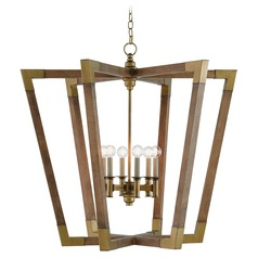 Mid-Century Modern Pendant Light Chestnut / Brass Bastian by Currey and Company Lighting