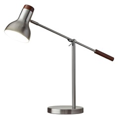 Adesso Home Watson Brushed Steel W. Dark Wood Swing Arm Lamp