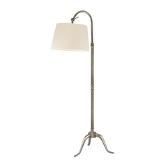 Floor Lamp with Beige / Cream Paper Shade in Aged Silver Finish