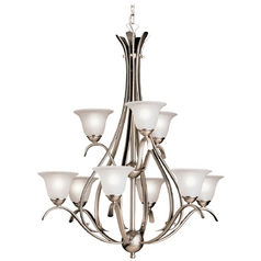 Kichler Lighting Kichler Chandelier with White Glass in Brushed Nickel Finish 2520NI
