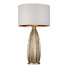 Table Lamp with White Shades in Antique Gold Mercury with Polished Nickel Finish