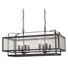 Minka Camden Square Aged Charcoal Island Light with Rectangle Shade