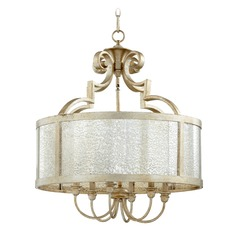 Quorum Lighting Champlain Aged Silver Leaf Pendant Light with Drum Shade