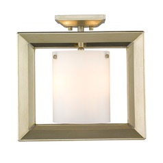 Smyth Semi-Flush (Low Profile) in White Gold with Opal Glass