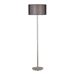 Modern Floor Lamp with Black Shade in Brushed Steel Finish