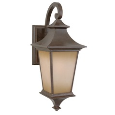 Outdoor Wall Light with Brown Glass in Bronze Finish