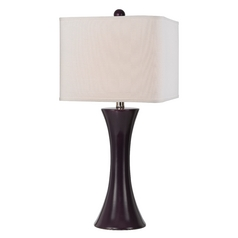 Modern Table Lamp with White Shade in Grape Finish