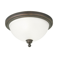 Progress Flushmount Light with White Glass in Antique Bronze Finish