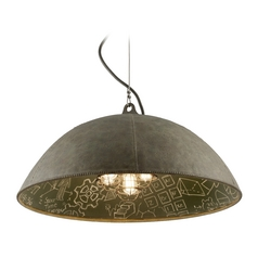 Pendant Light in Salvage Zinc Exterior / Chalkboard Interior  Finish