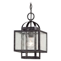 Minka Camden Square Aged Charcoal Mini-Pendant Light with Square Shade