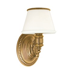 Sconce with White Glass in Flemish Brass Finish