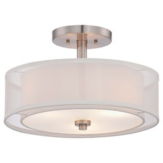 Minka Parsons Studio Brushed Nickel Semi-Flushmount Light