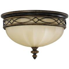 Flushmount Light with Beige / Cream Glass in Walnut Finish