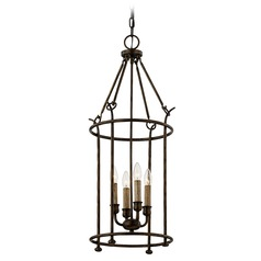 Troy Lighting Paso Robles Pompeii Bronze Pendant Light with Cylindrical Shade