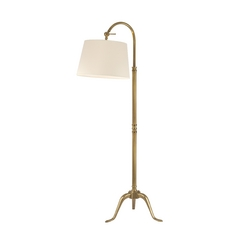 Floor Lamp with White Shade in Vintage Brass Finish