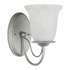 Sconce Wall Light with Alabaster Glass in Weathered Pewter Finish