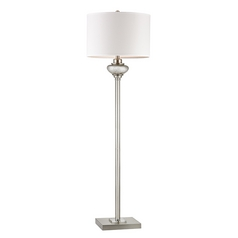 Floor Lamp with White Shades in Antique Silver Mercury Glass with Crystal Accents Finish