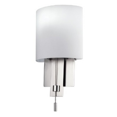 Modern Sconce with Pull Chain in Satin Nickel Finish
