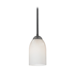 Black Mini-Pendant Light with Opal White Glass Shade