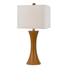 Modern Table Lamp with White Shade in Orange Finish