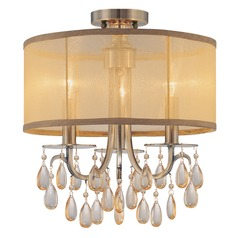 Crystorama Lighting Hampton Antique Brass Semi-Flushmount Light