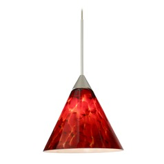 Besa Lighting Kani Satin Nickel Mini-Pendant Light with Conical Shade