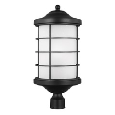 Etched Seeded Glass Post Light Black Sea Gull Lighting