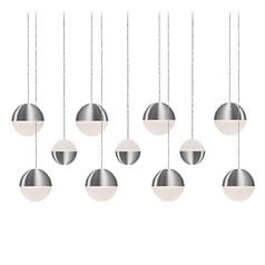 Modern Brushed Nickel LED Multi-Light Pendant with Frosted Shade 3000K 4400LM