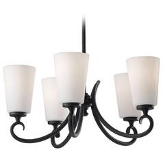 Chandelier with White Glass in Black Finish