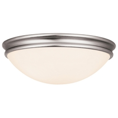 Access Lighting Modern Flushmount Light with White Glass in Brushed Steel Finish 20726-BS/OPL