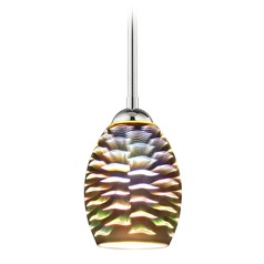 Chrome Mini-Pendant Light and 3-D Glass with Wave Pattern