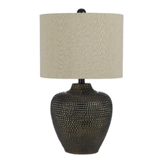 Table Lamp with Beige / Cream Shade in Brown Finish