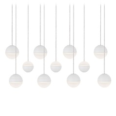 Modern White LED Multi-Light Pendant with Frosted Shade 3000K 4400LM