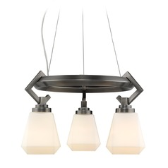 Hollis 3 Light Chandelier in Aged Steel with Opal Glass
