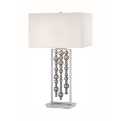 Modern Table Lamp with White Shades in Chrome Finish