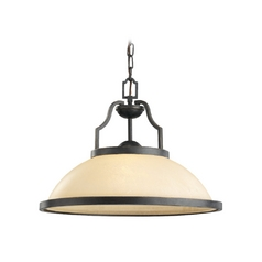 Nautical Pendant Light with Beige / Cream Glass in Bronze Finish