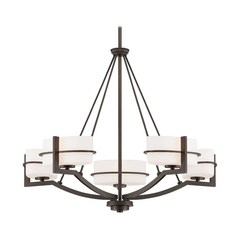 Minka Lighting, Inc. Modern Chandelier with White Glass in Smoked Iron Finish 4155-172