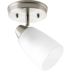 Progress Lighting Modern Directional Spot Light with White Glass in Brushed Nickel Finish P3360-09