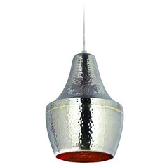 Kenroy Home Lighting Dervish Hammered Nickel and Brass Mini-Pendant Light