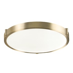 Modern Vintage Brass LED Flushmount Light with White Opal Shade 3000K 650LM
