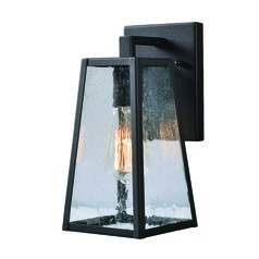 Seeded Glass Outdoor Wall Light Black Kenroy Home Lighting