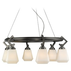 Hollis 6 Light Chandelier in Aged Steel with Opal Glass