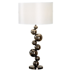 Modern Table Lamp with White Shade in Black Chrome Finish